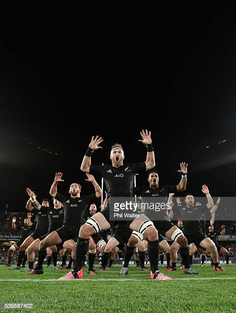 All Black captain Kieran Read performs the haka during the International Test match between the New Zealand All Blacks and Wales at Eden Park on June...