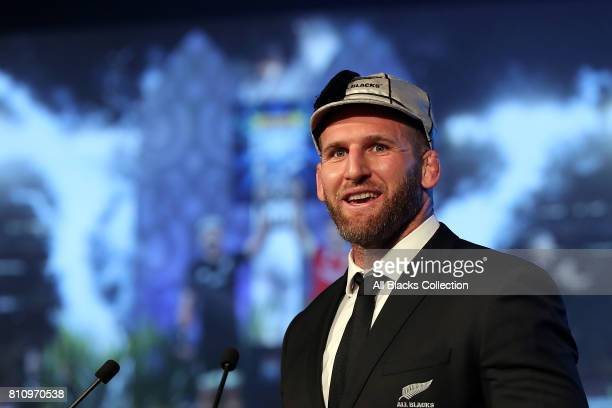 All Black captain Kieran Read speaks during the NZRU Post Match Function at Sky City following the Test match between the New Zealand All Blacks and...