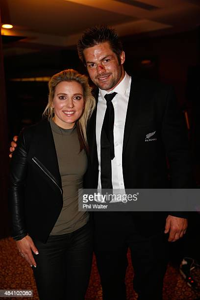 All Black captain Richie McCaw poses with his girlfriend Gemma Flynn at the aftermatch function following The Rugby Championship Bledisloe Cup match...