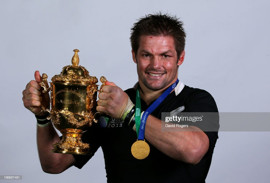 All Black captain <a gi-track='captionPersonalityLinkClicked' href=/galleries/search?phrase=Richie+McCaw&family=editorial&specificpeople=165235 ng-click='$event.stopPropagation()'>Richie McCaw</a> poses with the Webb Ellis Cup following his team's 8-7 victory during the 2011 IRB Rugby World Cup Final match between France and New Zealand at Eden Park on October 23, 2011 in Auckland, New Zealand.