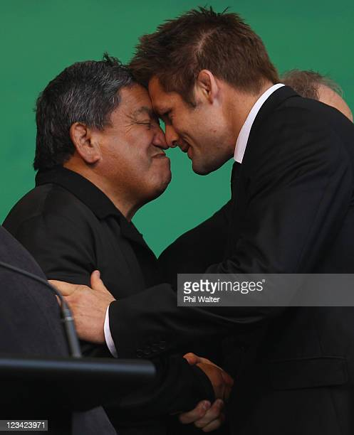All Black captain Richie McCaw shares a traditional Maori hongi with local kaumatua Matt Maihi during the official IRB Rugby World Cup 2011 New...