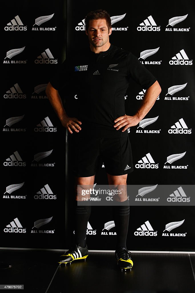 All Black captain <a gi-track='captionPersonalityLinkClicked' href=/galleries/search?phrase=Richie+McCaw&family=editorial&specificpeople=165235 ng-click='$event.stopPropagation()'>Richie McCaw</a> wears the 2015 Rugby World Cup jersey during the New Zealand All Blacks Rugby World Cup jersey launch at The Northern Club on July 1, 2015 in Auckland, New Zealand.