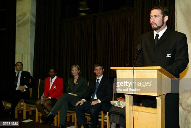 All Black captain Rueben Thorne speaks as Martin Johnson England Rugby captain English netball captain Amanda Newton Silver Ferns captain Anna...