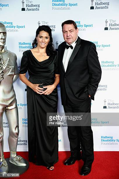 All Black coach Steve Hansen and his wife Tash during the 2016 Halberg Awards at Vector Arena on February 18 2016 in Auckland New Zealand