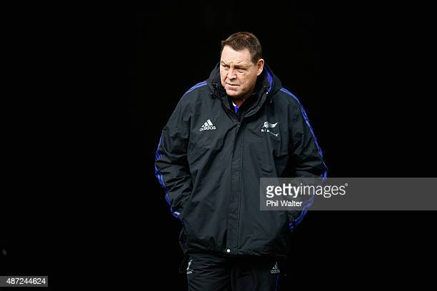 All Black coach Steve Hansen during a New Zealand All Blacks training session at Eden Park on September 8 2015 in Auckland New Zealand