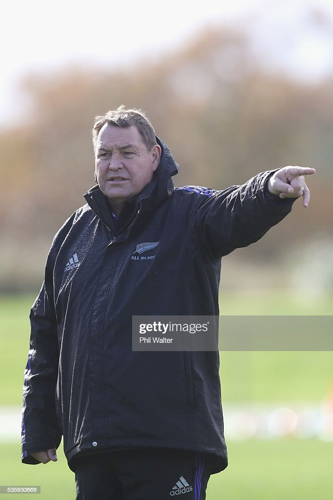 All Black coach Steve Hansen during a New Zealand All Blacks training session at Trusts Stadium on May 31, 2016 in Auckland, New Zealand.