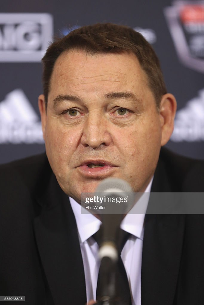 All Black coach <a gi-track='captionPersonalityLinkClicked' href=/galleries/search?phrase=Steve+Hansen&family=editorial&specificpeople=228915 ng-click='$event.stopPropagation()'>Steve Hansen</a> during the New Zealand All Blacks squad announcement at The Heritage Hotel on May 29, 2016 in Auckland, New Zealand.