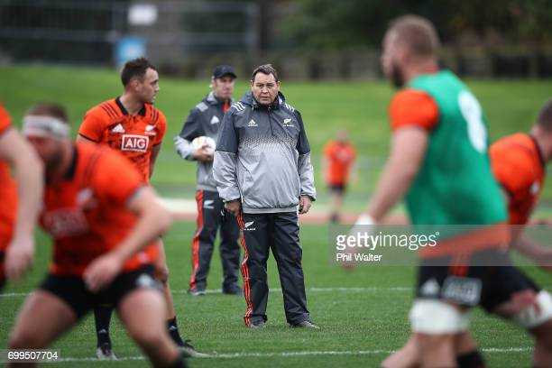 All Black coach Steve Hansen looks on during a New Zealand All Blacks training session at Trusts Stadium on June 22 2017 in Auckland New Zealand