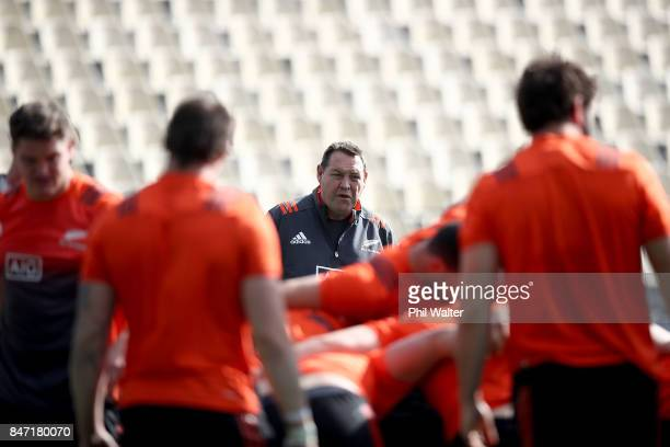 All Black coach Steve Hansen looks on during a New Zealand All Blacks Captain's Run at QBE Stadium on September 15 2017 in Auckland New Zealand