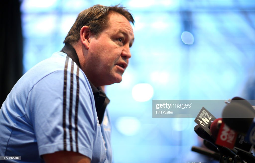 All Black coach <a gi-track='captionPersonalityLinkClicked' href=/galleries/search?phrase=Steve+Hansen&family=editorial&specificpeople=228915 ng-click='$event.stopPropagation()'>Steve Hansen</a> speaks to the media during a New Zealand All Blacks Media Session at the InterContinental Hotel on August 22, 2013 in Wellington, New Zealand.