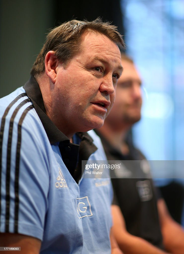 All Black coach Steve Hansen speaks to the media during a New Zealand All Blacks Media Session at the InterContinental Hotel on August 22, 2013 in Wellington, New Zealand.