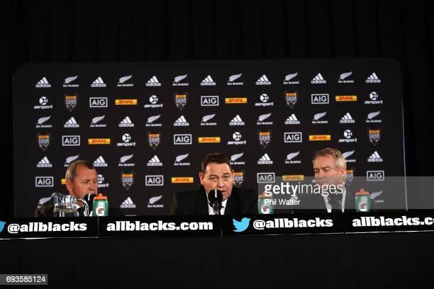 All Black coaching panel Ian Foster Steve Hansen and Grant Fox speak to the media during the All Blacks Maori All Blacks New Zealand Lions Series...
