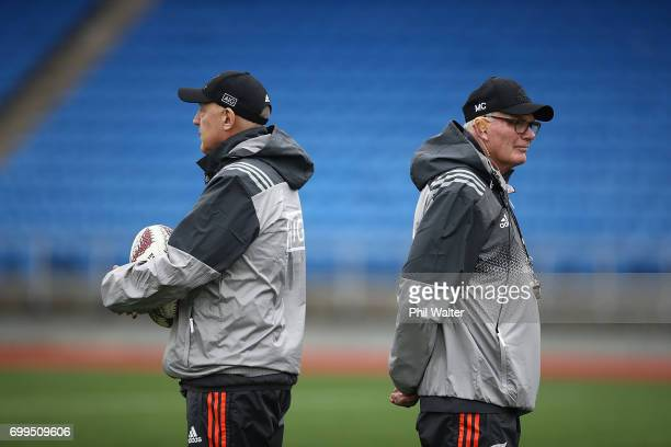 All Black coaching staff Gilbert Enoka and Mike Cron during a New Zealand All Blacks training session at Trusts Stadium on June 22 2017 in Auckland...