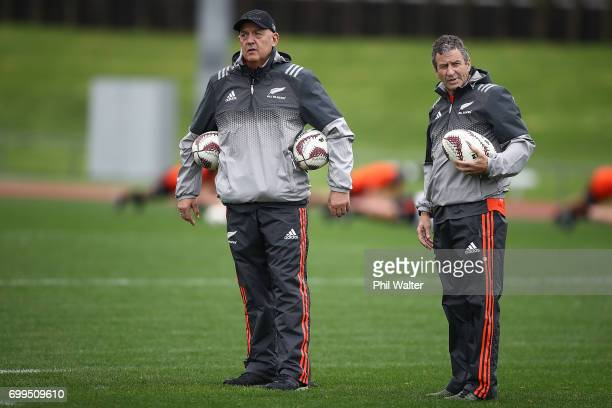 All Black coaching staff Gilbert Enoka and Wayne Smith during a New Zealand All Blacks training session at Trusts Stadium on June 22 2017 in Auckland...