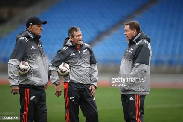 All Black coaching staff GIlbert Enoka Wayne Smith and Steve Hansen during a New Zealand All Blacks training session at Trusts Stadium on June 22...
