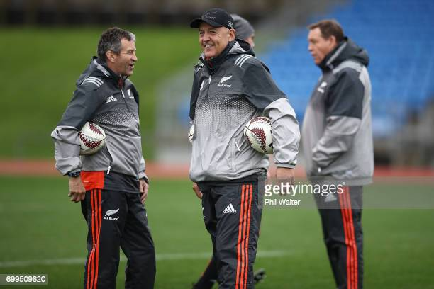 All Black coaching staff Wayne Smith Gilbert Enoka and Steve Hansen during a New Zealand All Blacks training session at Trusts Stadium on June 22...