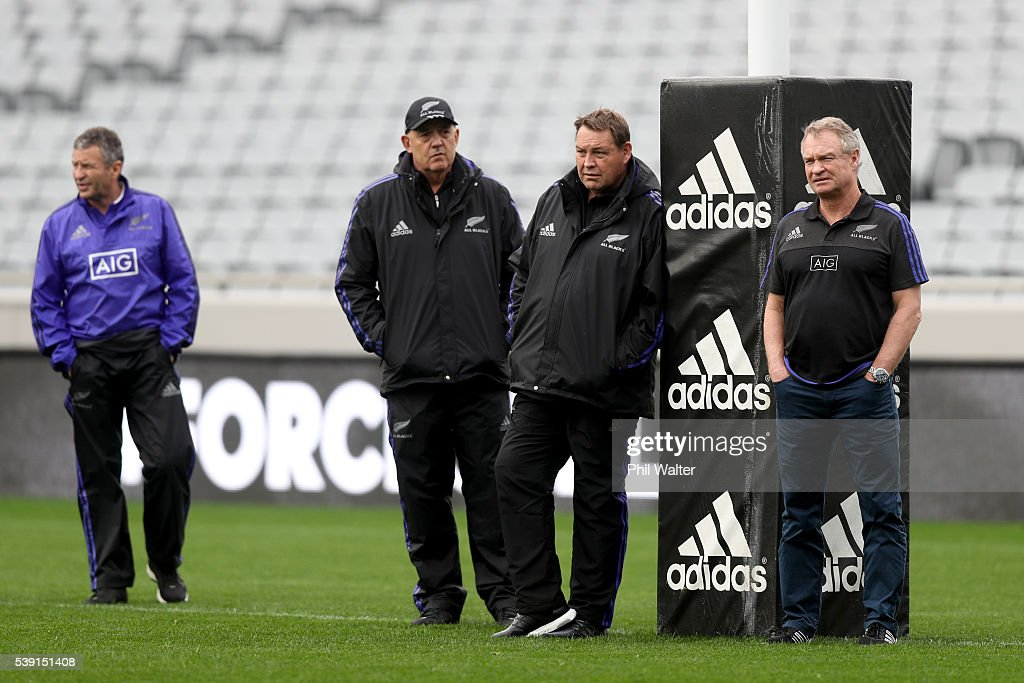 All Black coaching staff Wayne Smith Gilbert Enoka Steve Hansen and Grant Fox during the New Zealand All Blacks Captain's Run at Eden Park on June 10...