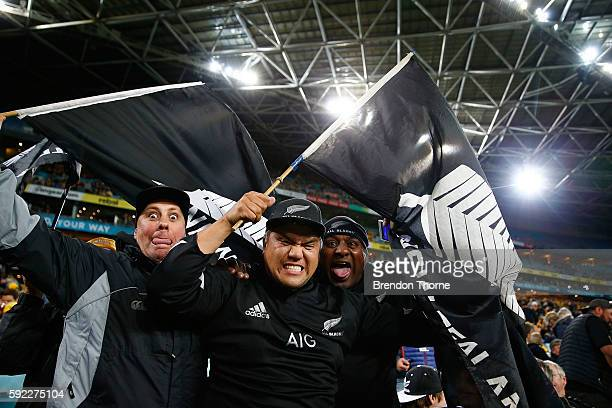 All Black fans show their colours prior to the Bledisloe Cup Rugby Championship match between the Australian Wallabies and the New Zealand All Blacks...
