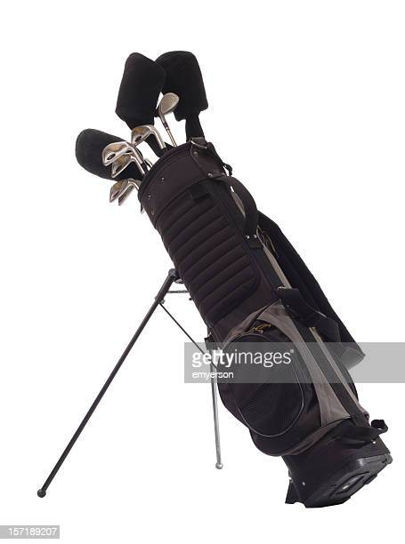 All black golf bag with golf clubs inside