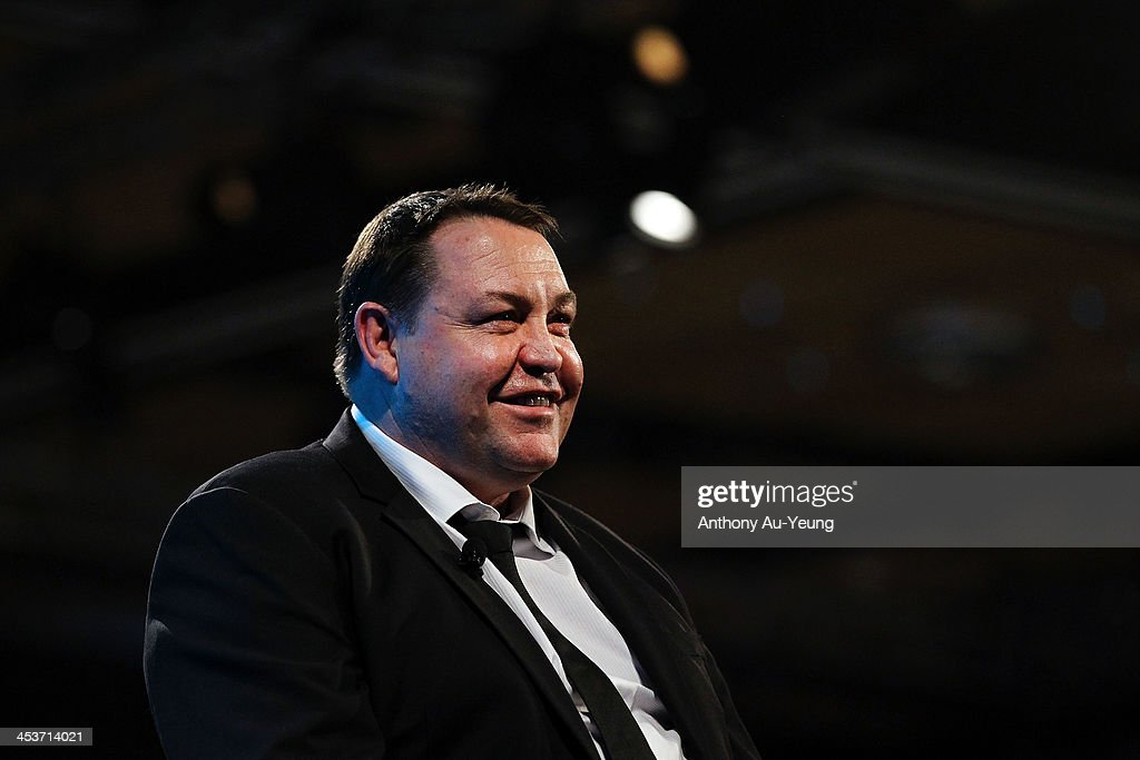 All Black Head Coach <a gi-track='captionPersonalityLinkClicked' href=/galleries/search?phrase=Steve+Hansen&family=editorial&specificpeople=228915 ng-click='$event.stopPropagation()'>Steve Hansen</a> is interviewed after receiving the Coach of the Year award during the 2013 Steinlager Rugby Awards at SkyCity Convention Centre on December 5, 2013 in Auckland, New Zealand.