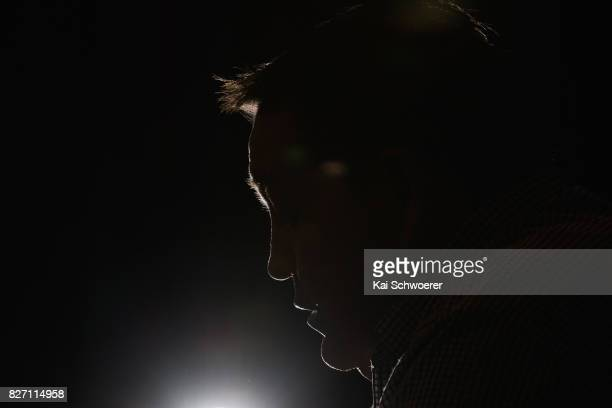 All Black Head Coach Steve Hansen speaks to the media during the New Zealand All Blacks Rugby Championship Squad Announcement at Burnside Rugby Club...