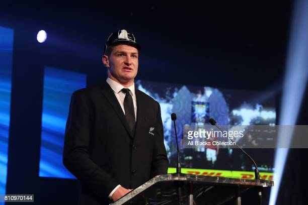 All Black Jordie Barrett is capped for his debut during the Lions tour at the NZRU Post Match Function at Sky City following the Test match between...