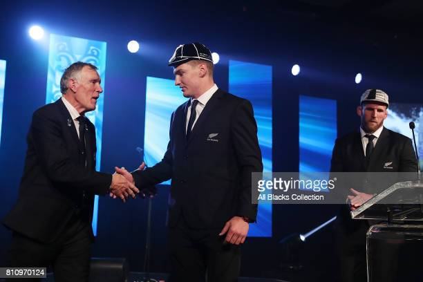 All Black Jordie Barrett is capped for his debut during the Lions tour by NZR President Maurice Trapp and Kieran Read at the NZRU Post Match Function...