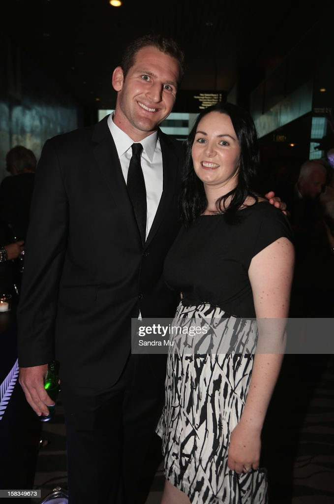 All Black Kieran Read and his wife Bridget pose during the 2012 Steinlager Rugby Awards at SkyCity Convention Centre on December 14 2012 in Auckland...
