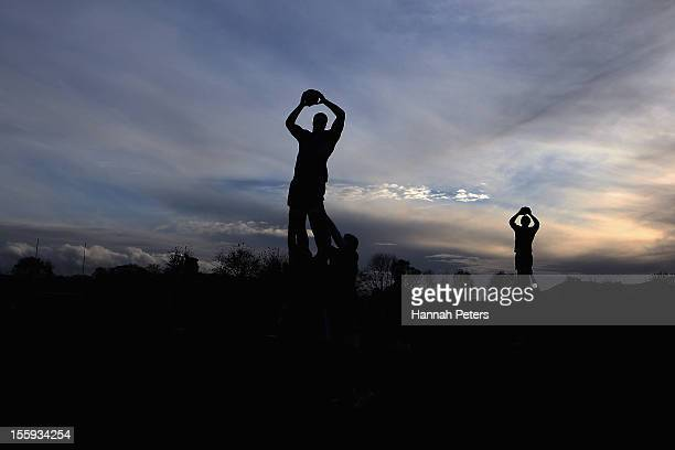 All Black locks run through lineout drills during a training session at Peffermill University on November 9 2012 in Edinburgh Scotland