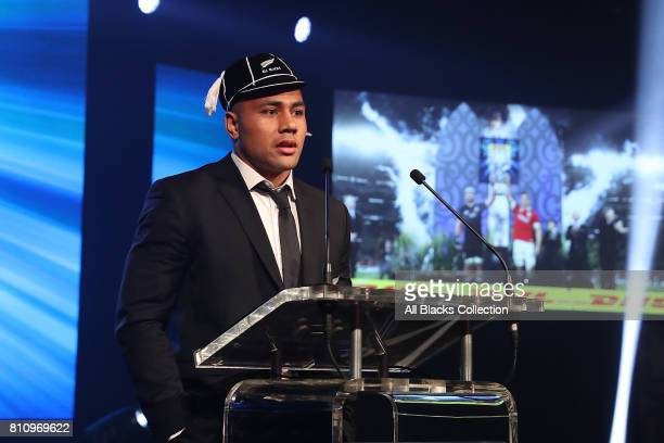 All Black Ngani Laumape is capped for his first test appearance during the Lions tour at the NZRU Post Match Function at Sky City following the Test...