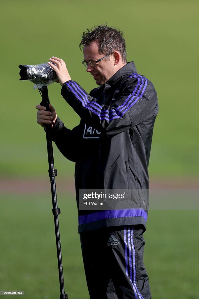 All Black performance analyst Jamie Hamilton during a New Zealand All Blacks training session at Trusts Stadium on May 31, 2016 in Auckland, New Zealand.