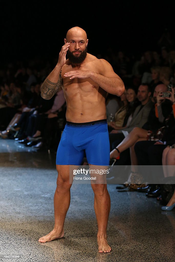 All Black rugby player DJ Forbes, showcases designs by Jockey in the Resene Designer Selection Show by Woman's Day at New Zealand Fashion Week 2014 on August 28, 2014 in Auckland, New Zealand.