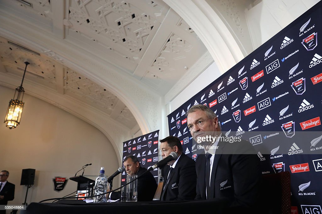 All Black selector Grant Fox during the New Zealand All Blacks squad announcement at The Heritage Hotel on May 29, 2016 in Auckland, New Zealand.