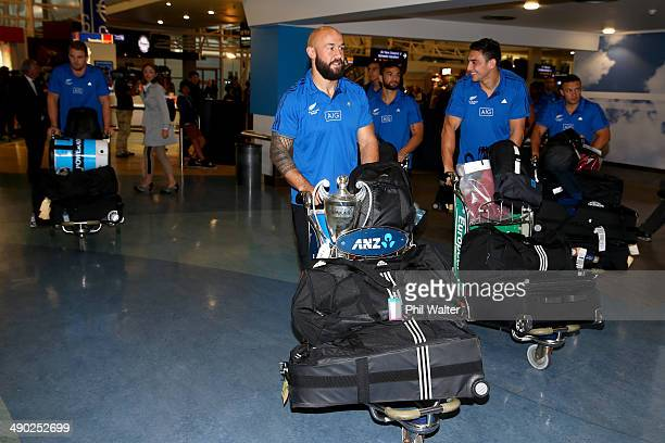 All Black Sevens captain DJ Forbes arrives back at the Auckland International Airport on May 14 2014 in Auckland New Zealand The All Black Sevens won...