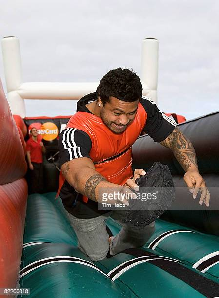 All Black Sione Lauaki participates in one of the interactive challenges during the Mastercard Rugby Roadshow on August 7 2008 in Hamilton New Zealand