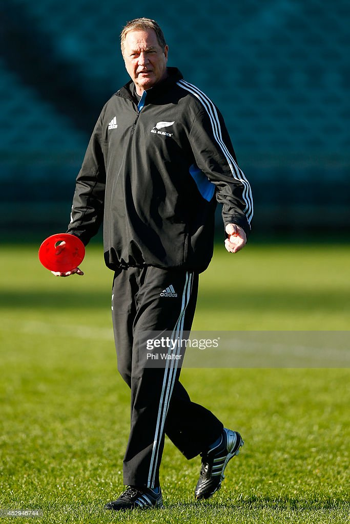 All Black skills coach Mick Byrne during a New Zealand All Blacks training session at North Harbour Stadium on July 31, 2014 in Auckland, New Zealand.