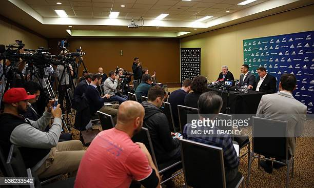 All Black Sonny Bill Williams with NZRU Chief Executive Steve Tew and All Blacks Coach Steve Hansen speak to the media in Auckland on June 01 2016...