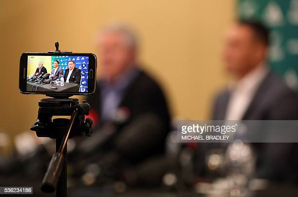 All Black Sonny Bill Williams with NZRU Chief Executive Steve Tew and All Blacks Coach Steve Hansen speak to the media after it was announced that...