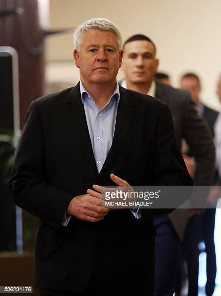All Black Sonny Bill Williams with NZRU Chief Executive Steve Tew arrive to speak to the media after it was announced that Sonny Bill Williams has...