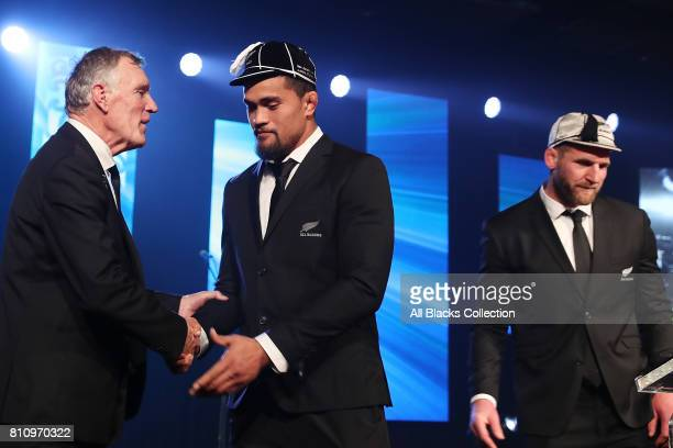 All Black Vaea Fifita is capped for his debut by NZR President Maurice Trapp and captain Kieran Read during the NZRU Post Match Function at Sky City...