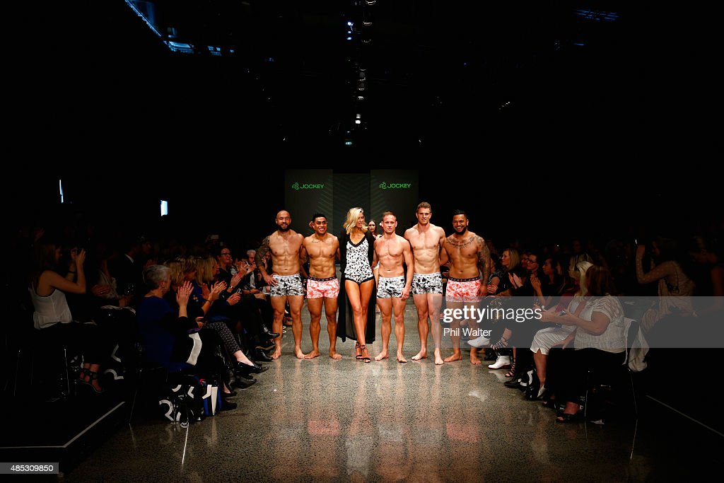 All Blacks and All Blacks Sevens players <a gi-track='captionPersonalityLinkClicked' href=/galleries/search?phrase=DJ+Forbes&family=editorial&specificpeople=4217962 ng-click='$event.stopPropagation()'>DJ Forbes</a>, <a gi-track='captionPersonalityLinkClicked' href=/galleries/search?phrase=Malakai+Fekitoa&family=editorial&specificpeople=9630619 ng-click='$event.stopPropagation()'>Malakai Fekitoa</a>, Andy Ellis, <a gi-track='captionPersonalityLinkClicked' href=/galleries/search?phrase=Scott+Curry+-+Rugby+Union+Player&family=editorial&specificpeople=538064 ng-click='$event.stopPropagation()'>Scott Curry</a> and Hika Elliot pose with <a gi-track='captionPersonalityLinkClicked' href=/galleries/search?phrase=Nikki+Phillips&family=editorial&specificpeople=2253055 ng-click='$event.stopPropagation()'>Nikki Phillips</a> during the Jockey show at New Zealand Fashion Week 2015 on August 27, 2015 in Auckland, New Zealand.