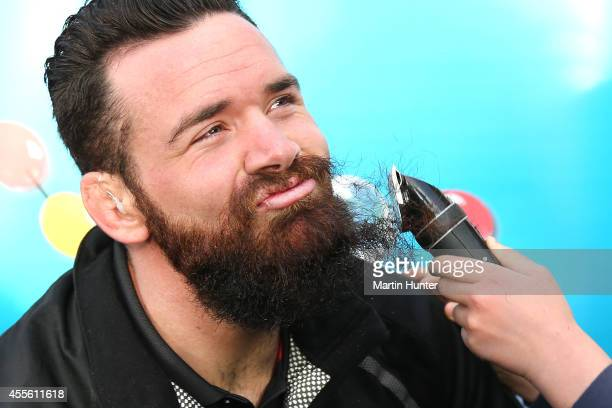 All Blacks and Crusaders rugby player Ryan Crotty has his shaved off for charity by Leni Smith on September 18 2014 in Christchurch New Zealand...
