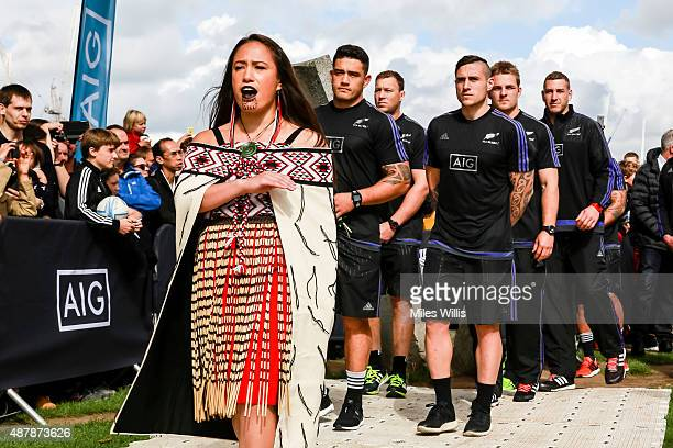 All Blacks arrive to a traditional Maori welcome at the Haka 360 Experience Launch Event at Oxo Tower Wharf South Wharf on September 12 2015 in...
