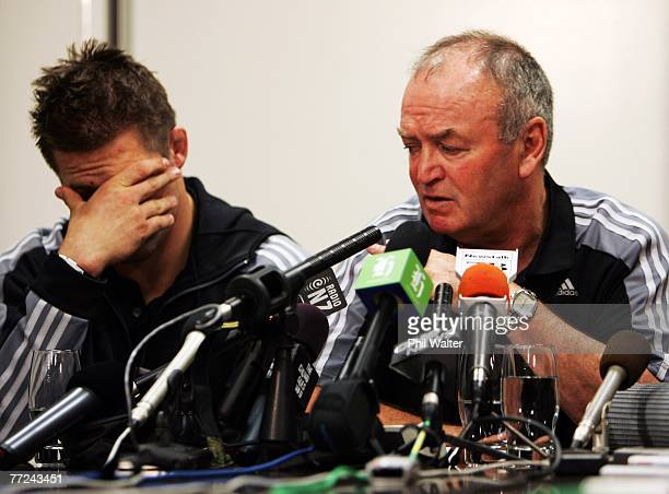 All Blacks captain Richie McCaw and All Blacks coach Graham Henry front the media at a press conference after the New Zealand All Blacks arrived home...