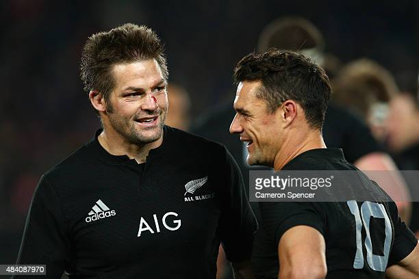 All Blacks captain Richie McCaw and Dan Carter of the All Blacks embrace after winning The Rugby Championship Bledisloe Cup match between the New...