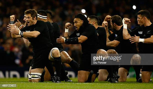 All Blacks captain Richie McCaw and Ma'a Nonu react during the Haka before the 2015 Rugby World Cup Quarter Final match between New Zealand and...