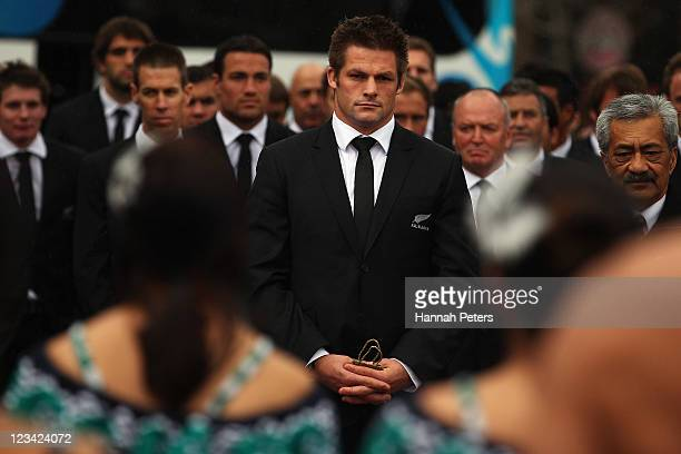 All Blacks captain Richie McCaw leads the team as traditional Maori warrior lays down the challenge during the official IRB Rugby World Cup 2011 New...