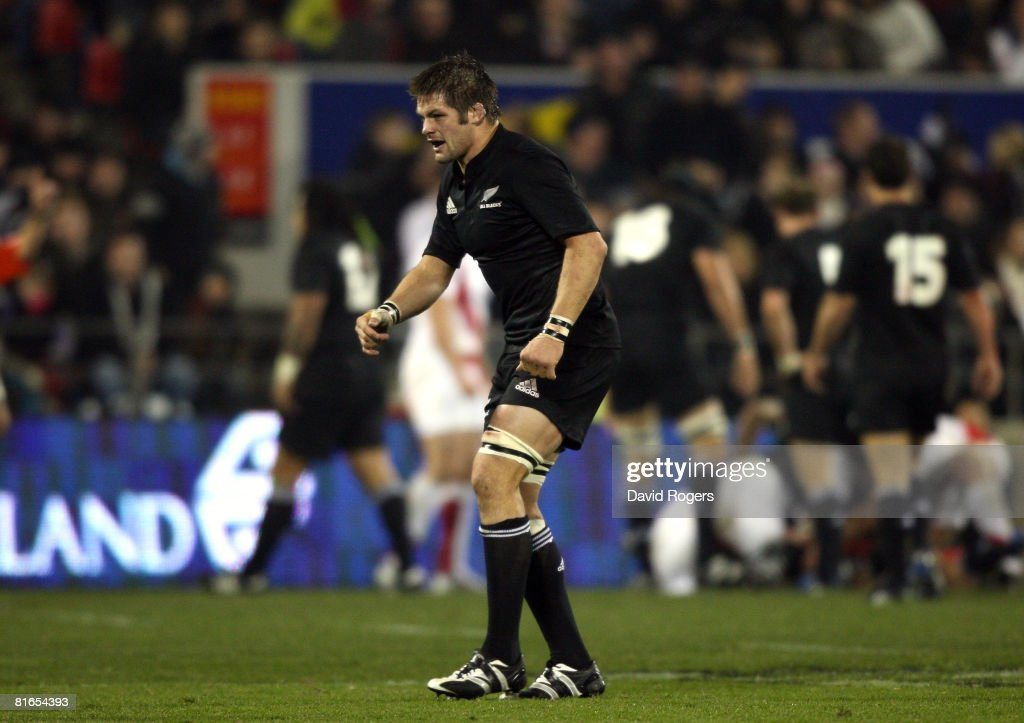 All Blacks captain Richie McCaw limps after an injury during the second Iveco Series test match between the New Zealand All Blacks and England at AMI...