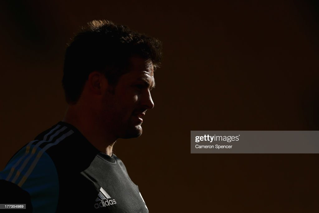 All Blacks captain Richie McCaw looks on during a New Zealand All Blacks Captain's Run at Westpac Stadium on August 23 2013 in Wellington New Zealand