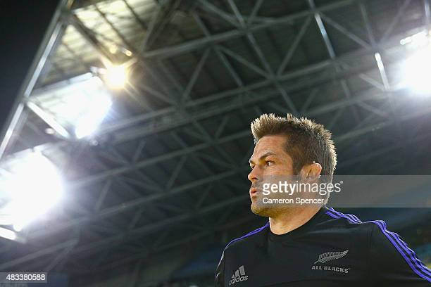 All Blacks captain Richie McCaw walks onto the field during The Rugby Championship match between the Australia Wallabies and the New Zealand All...